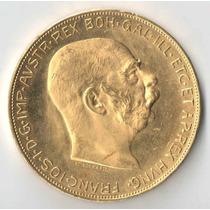 Austria 100 Coronas 1915 Ouro 33,87 Gramas Ouro 900