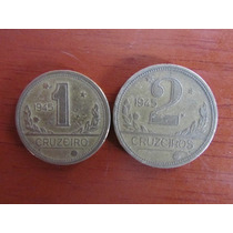 Moeda - Brasil - 1 E 2 Cruzeiros Série Vargas - 1945 - Mbc