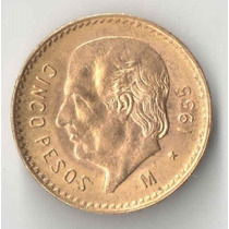 Mexico 5 Pesos De Ouro Ano 1955 4,166 Gramas De Ouro 900