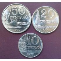Moedas = 3 De 10, 20 E 50 Centavos De Cruzeiros - 1977 - Mbc