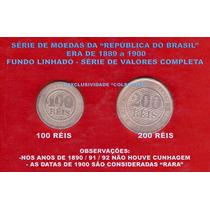 Moedas Do Brasil-série 100-200-reis-república Linhado Rara