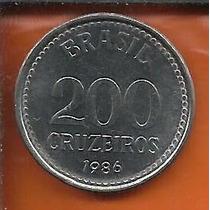 Moeda 200 Cruzeiros 1986 - Aço Inox - Nova República