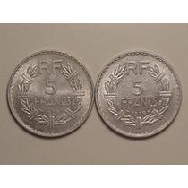 França) 5 Francs - 1949 (duas Moedas Grandes - 30mm)