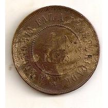 Bonito 40 Reis Do Brasil Em Bronze Do Ano De 1900