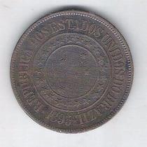 Moeda Do Brasil, 40 Réis De 1893, Bronze, Mbc/s.