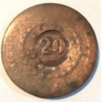 Moeda Antiga De 20 Reis Sem Data, Em Torno De 1825