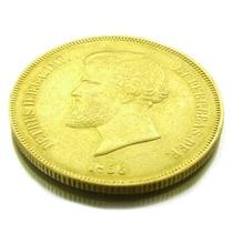 Moeda De 20.000 Réis Em Ouro Maciço 22k Imperio 1856 0597