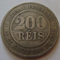 180.34 Moeda Antiga E Rara De Cubro-níquel 200 Réis