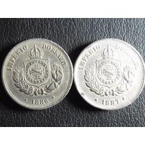 Moedas Brasil 1886 E 1887. 50 Reis. Sob Fundo Linha Lot 334