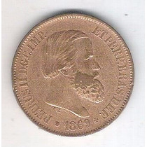 Moeda Do Brasil, 20 Réis De 1869, Bronze, Mbc.