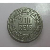 V090 - Bela Moeda 200 Réis 1918 Escassa