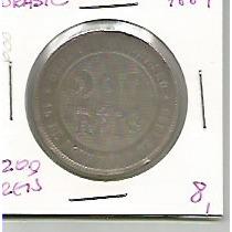 668 - Moeda Brasil 1889 - 200 Réis - Cupro-niquel