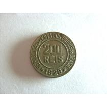 Rara Moeda 200 Réis 1929 Reverso Inclinado.