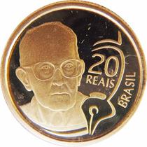 Moeda De Ouro 20 Reais 2002 Comemorativa Carlos Drumond 8 G