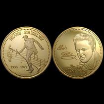 Moeda Comemorativa Elvis Presley Folheada A Ouro
