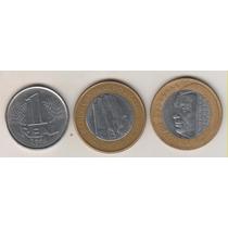 B153 - 1 Um Real 1994 Jk E Bc Lote Com As 3 Moedas R$ 19,00