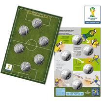 Cartela Com As 6 Moedas Oficiais Da Copa Do Mundo 2014