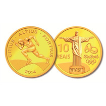 Moeda Comemorativa Olimpíadas Rio 2016 Corrida/ouro