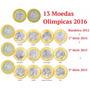 13 Moedas Olimpíada 2016 + 2 Brindes (folha + Moeda Bc 2015)