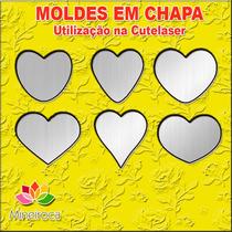 Molde 6 Corações Em Chapa - Corta Feltro