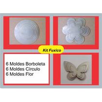 Kit 3 Moldes Para Fuxico : Flor, Circulo E Borboletas.