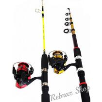 Pesca - Kit 2 Molinete+2 Varas1.50 E 2.40 Mts - Aproveitem!