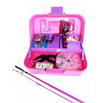 Pesca - Kit Feminino Maleta Rosa+molinete+vara+acessórios