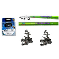 Pesca - Kit 2 Molinete+2 Varas+ 300 M Linha - Frete Grátis!!