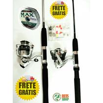 Kit Pesca - 2 Molinetes+2 Varas+acessórios- Super Promoção