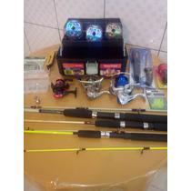 Kit Pesca Pantanal 3 Molinetes 3 Varas Acessórios Promoção