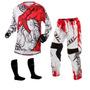 Calça E Camisa Jett Veneno Branca Vermelho Trilha + Frete