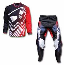 Kit Conjunto Roupa Motocross Trilha Big Vermelh Skull Racing