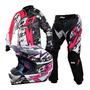 Combo Kit Motocross Pro Tork Eletric Rosa Trilha Feminino