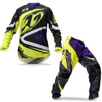 Kit Roupa Para Motocross Pro Tork Insane 4 Amarela E Roxa