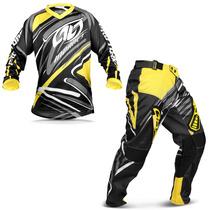 Kit Roupa Motocross Insane 3 Preta Amarelo Calça Camisa G