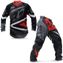 Kit Roupa Motocross Pro Tork Insane 4 Vermelha E Cinza Tam G