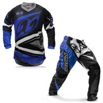 Kit Roupa Motocross Pro Tork Insane 4 Azul E Cinza Tamanho M