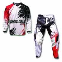 Kit Conjunto Roupa Motocross Trilha Dub Vermelh Skull Racing