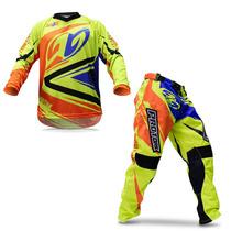 Kit Roupa Motocross Trilha Pro Tork Insane 4 Amarela Laranja