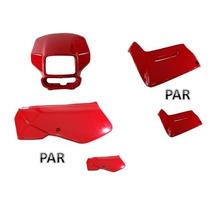 Kit Plastico Carenagens Xr200 2001 A 2002 Vermelho 3 Peças