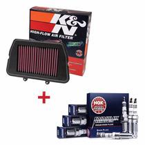 Kit Filtro De Ar K&n + Velas Iridium Ngk Tiger 800 Xc 800xc