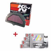 Kit Filtro De Ar K&n + Velas De Iridium Ngk Gsr 750 Suzuki