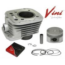 Cilindro + Pistao Com Aneis Motor Biz 125 Completo Vini Kit