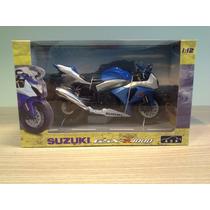 Miniatura Moto Suzuki Gsxr 1000 Azul Com Branco Escala 1:12