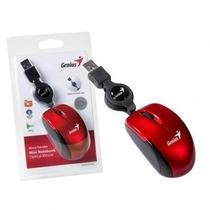 Mouse Usb Genius Micro Traveler Retratil Vermelho