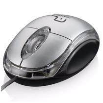 Mouse Usb 800dpi C Fio Óptico Scroll Macio Cinza Ergonômico
