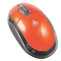 Mouse Usb 1000cpi Laranja Acrílico Luz Interna