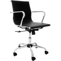 Cadeira Escritório Diretor Preta Com Base Cromada Giratória