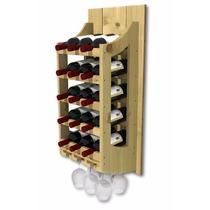 Adega De Parede Para Vinhos Em Madeira 15 Garrafas E 6 Taças