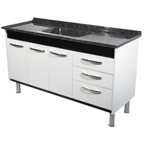 Combo 13 - Gabinete Cozinha 1,44 + Pia Inox 1,50